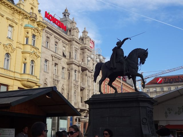 Ban Jelačić Square, Zagreb's main square. Shows an old hero who fought off some Hungarians in the 1800s.