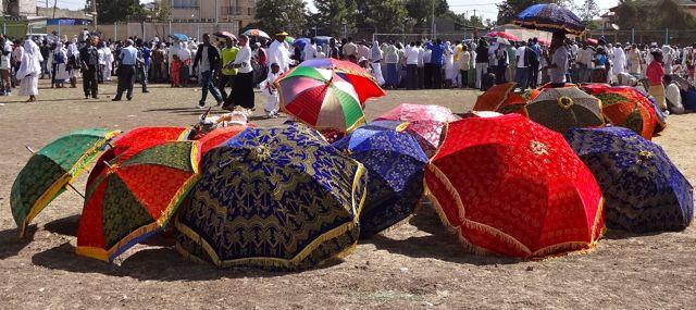 These velvet umbrellas make an appearance on church holidays